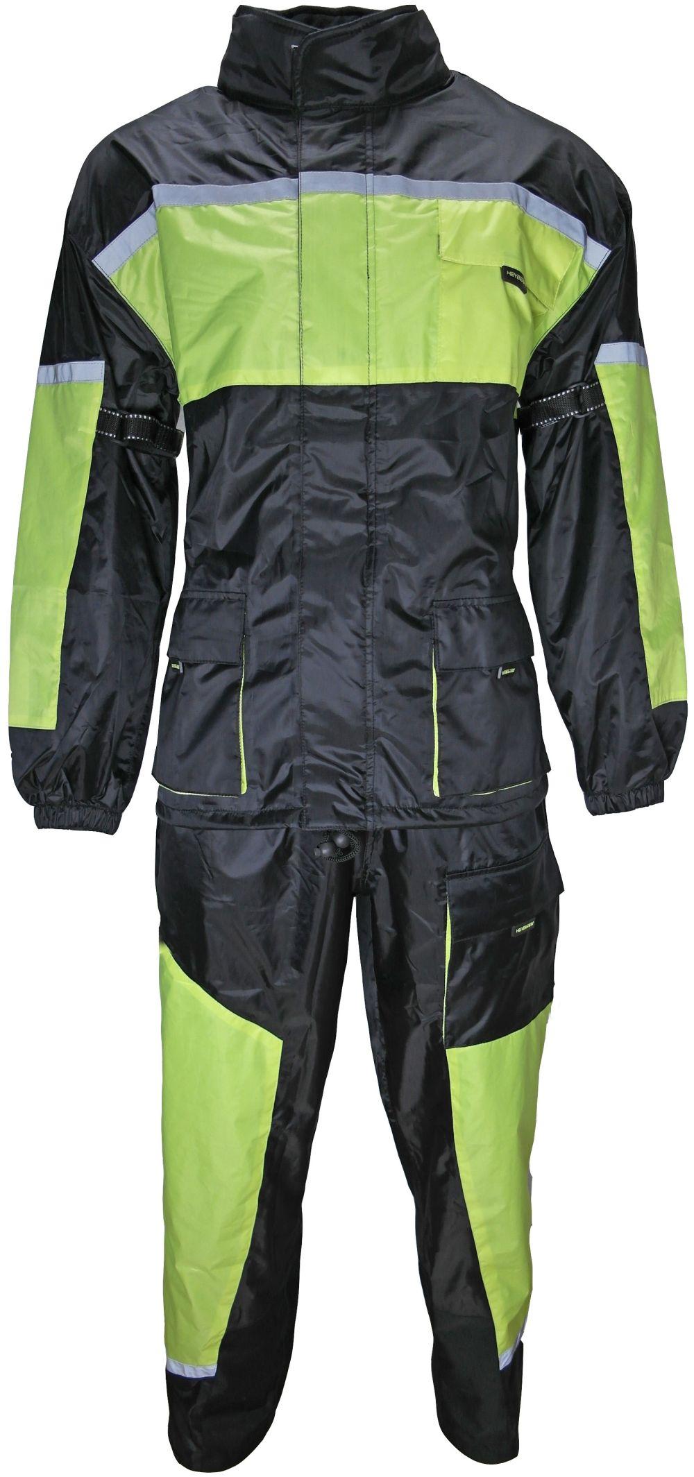 Motorrad Regenkombi Regenhose Regenjacke schwarz neon grün Gr. S - 3XL