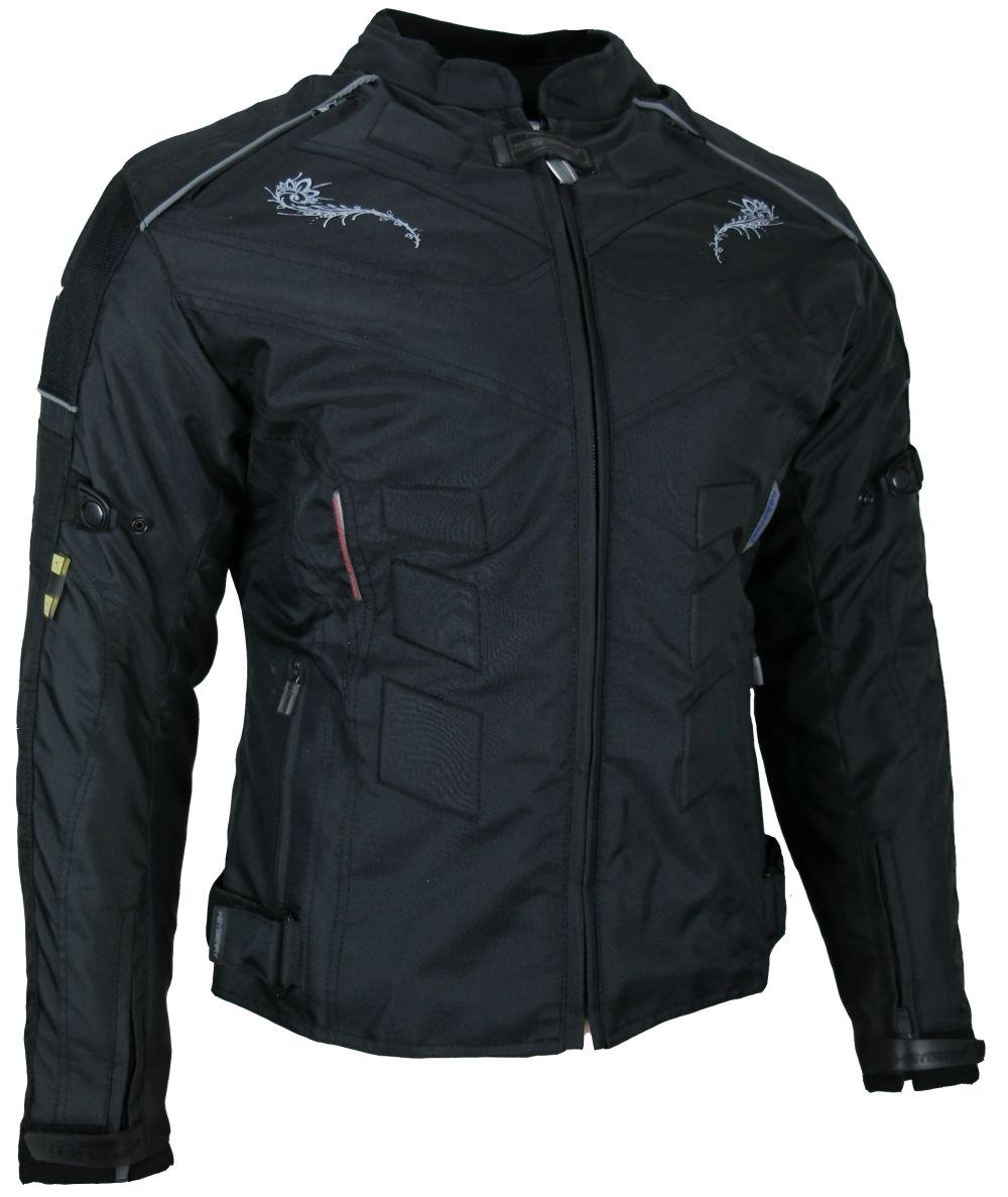 Heyberry Damen Motorradjacke  Motorrad Jacke Textil Schwarz Gr. S - XXL
