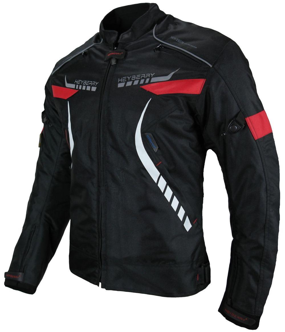 Heyberry Damen Motorradjacke Textil Schwarz Rot Gr. S M L XL XXL