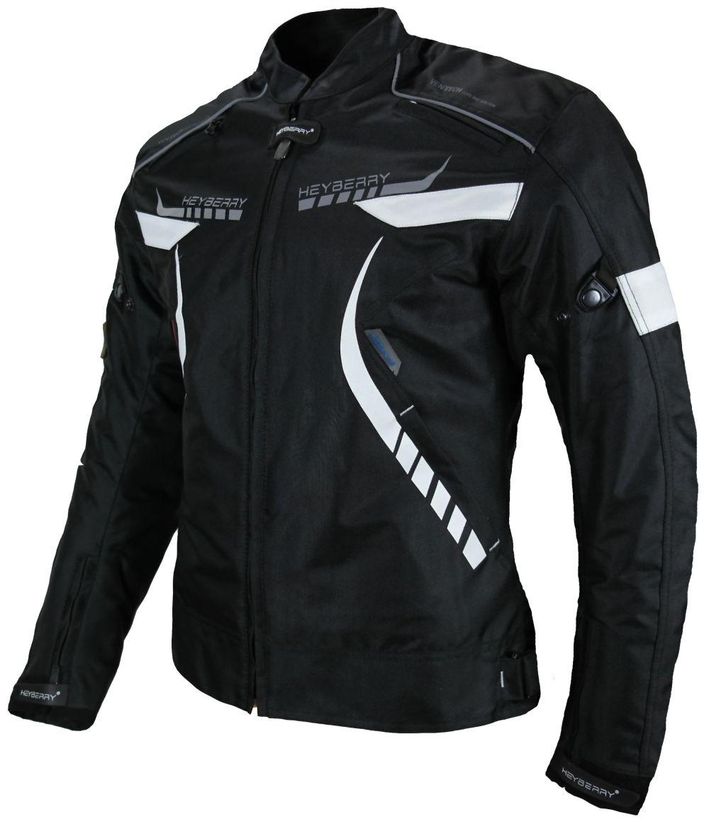 Heyberry Damen Motorradjacke Textil Schwarz Weiß Gr. S M L XL XXL