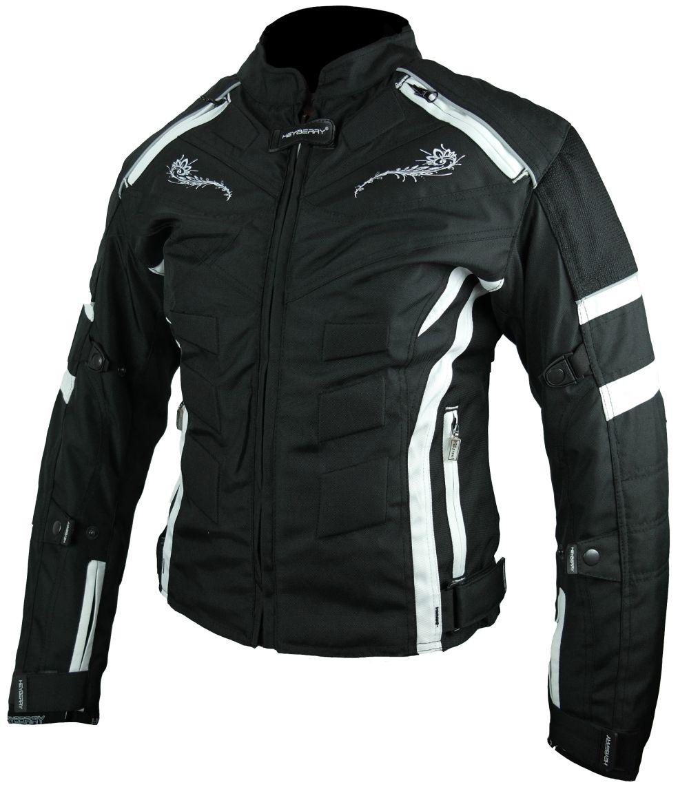 Heyberry Damen Motorrad Jacke Motorradjacke Textil Schwarz Weiß Gr. S - XXL