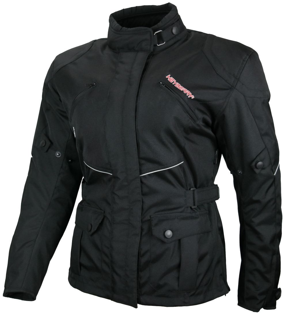 "Heyberry Damen Motorradjacke Lang Textil ""Anny"" Schwarz  Gr. S M L XL XXL"