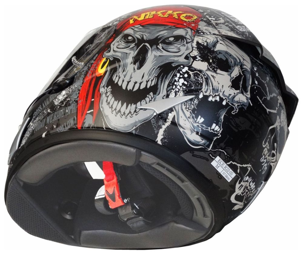 Nikko Integralhelm Full Face Helm Road Pirate matt schwarz rot Gr. S - XL