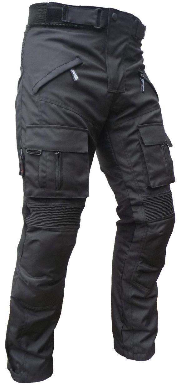 Sportliche Motorrad Hose Motorradhose Schwarz mit Oberschenkeltaschen Gr. M-3XL