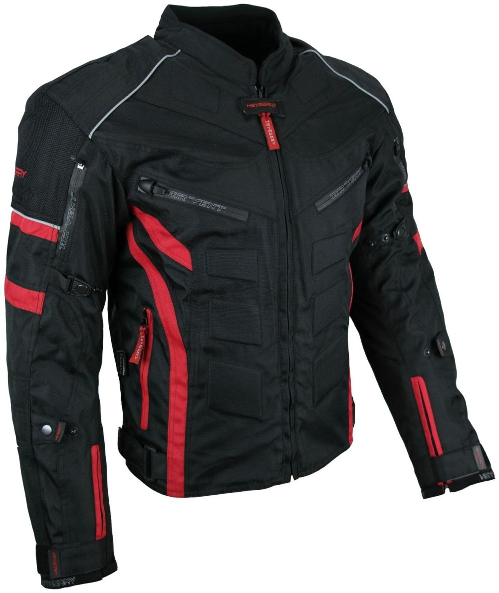 Kurze Textil Motorrad Jacke Motorradjacke Schwarz Rot Gr. M - 3XL