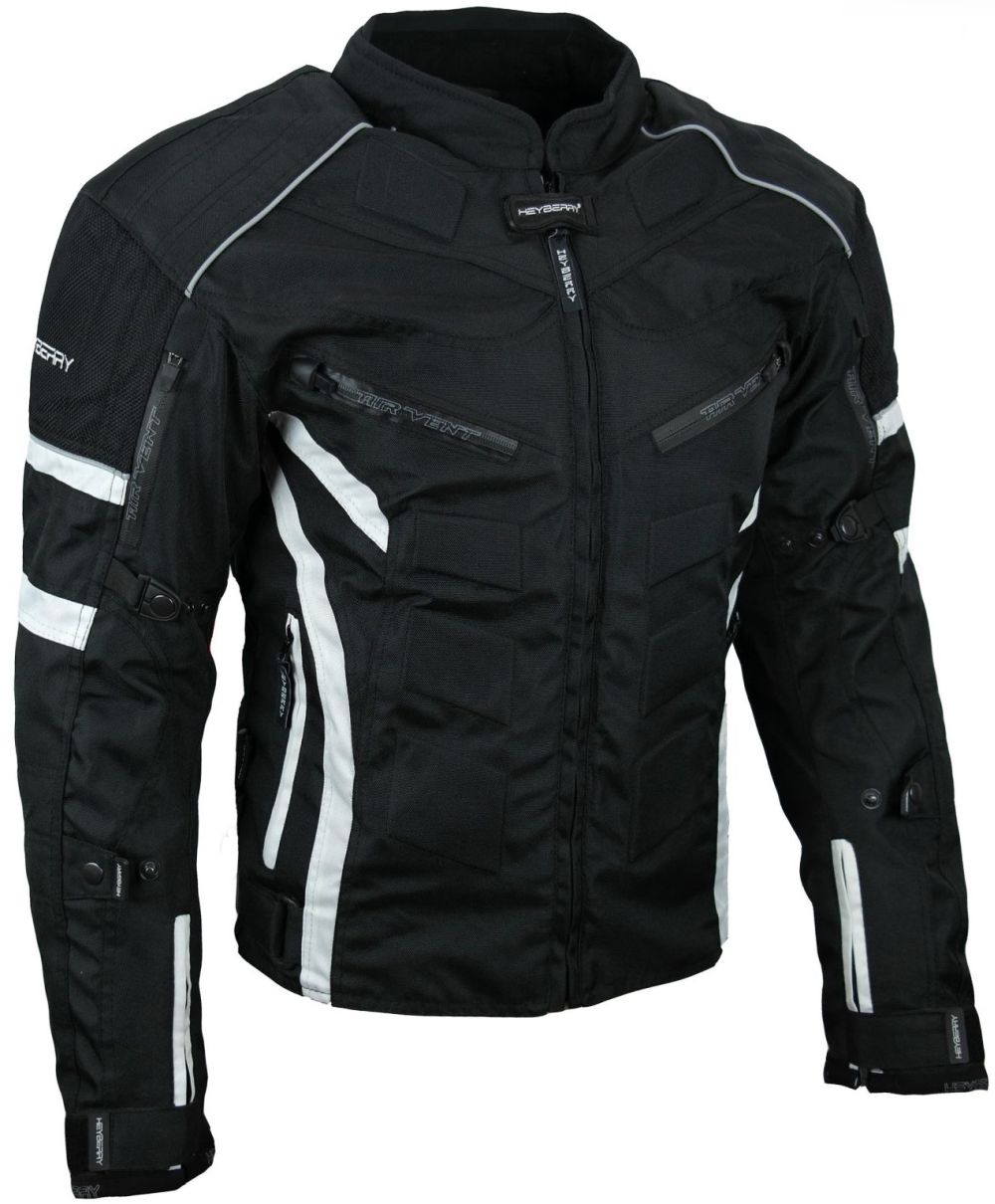 Kurze Textil Motorrad Jacke Motorradjacke Schwarz Weiß Gr. M - 3XL