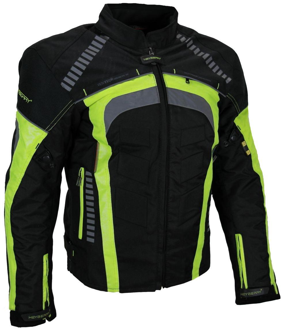 Sportliche Motorrad Jacke Motorradjacke Heyberry Schwarz/Neon Gr. M L XL XXL 3XL