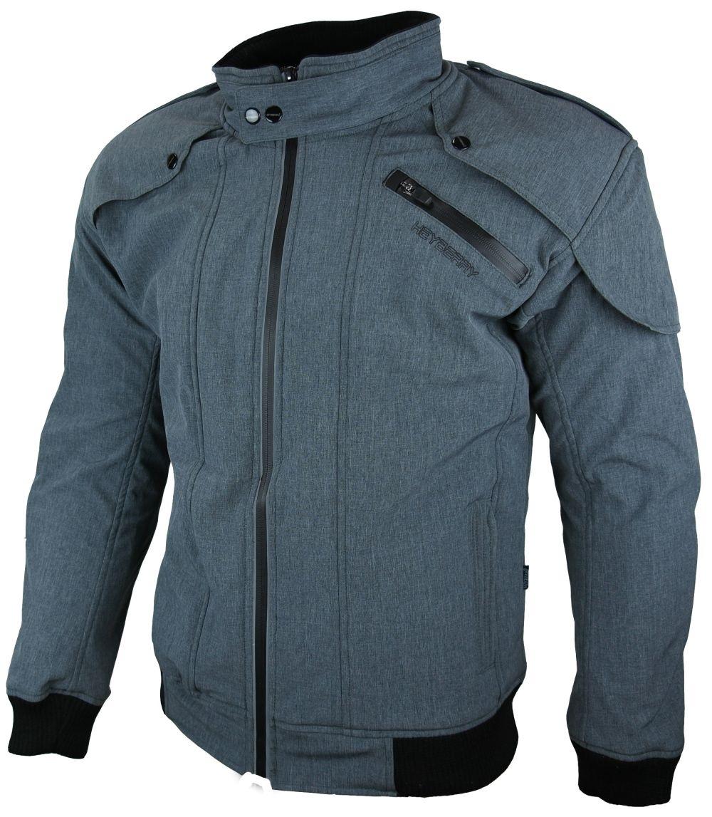 Heyberry Soft Shell Motorradjacke Textil Grau meliert Gr. M L XL XXL 3XL