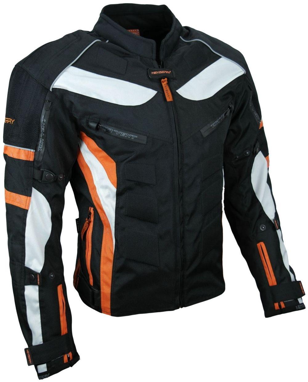 Heyberry Textil Motorrad Jacke Motorradjacke Schwarz Orange Gr. M bis 3XL