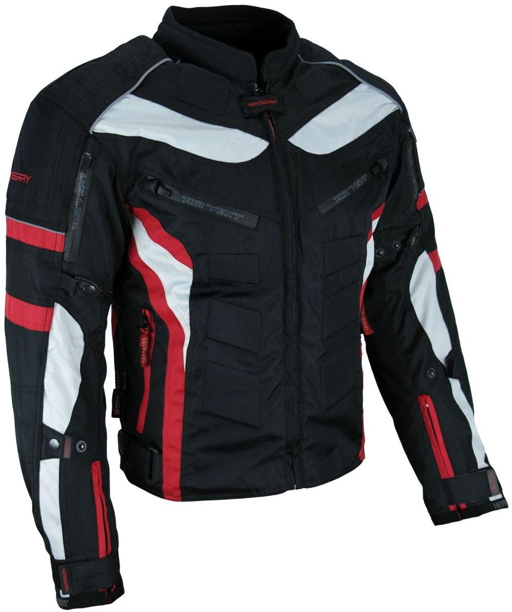 Heyberry Textil Motorrad Jacke Motorradjacke Schwarz Rot Gr. M bis 3XL