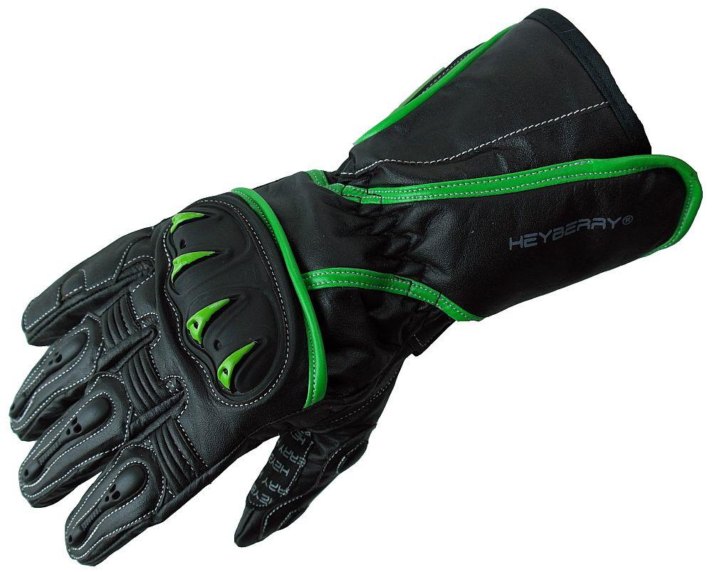 Heyberry Motorradhandschuhe Leder Motorrad schwarz grün Gr. M - XXL
