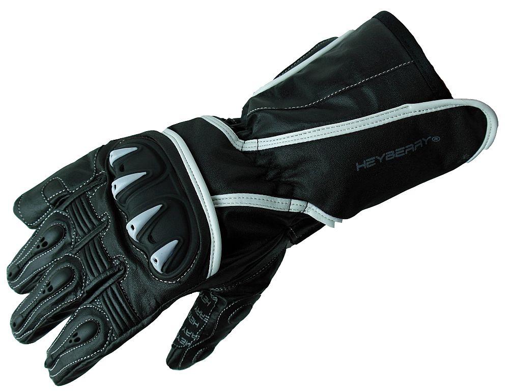 Heyberry Motorradhandschuhe Leder Motorrad schwarz weiß Gr. M - XXL