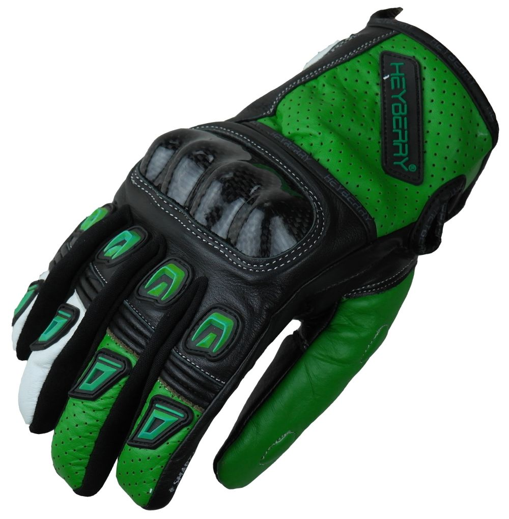 Motorradhandschuhe Leder Motorrad Handschuhe kurz schwarz grün Gr. M L XL 2XL