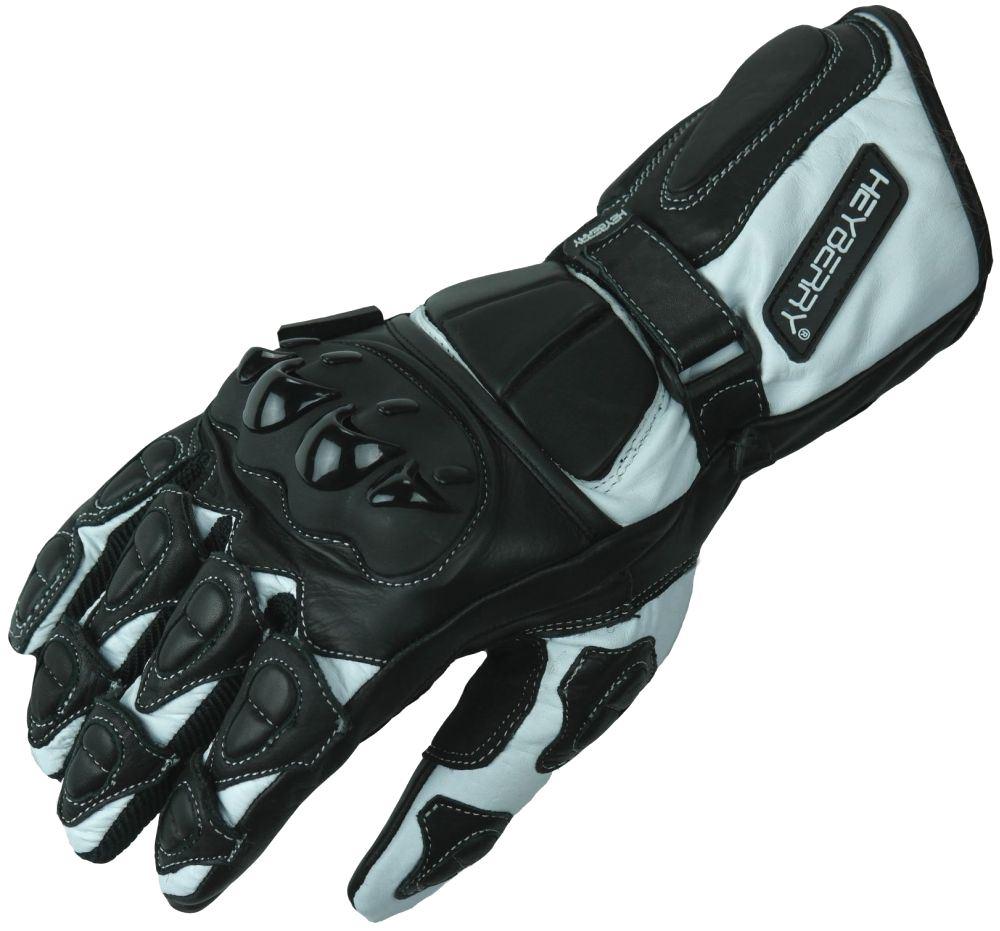 Heyberry Motorradhandschuhe Leder Motorrad Handschuhe schwarz weiß Gr. M - XXL