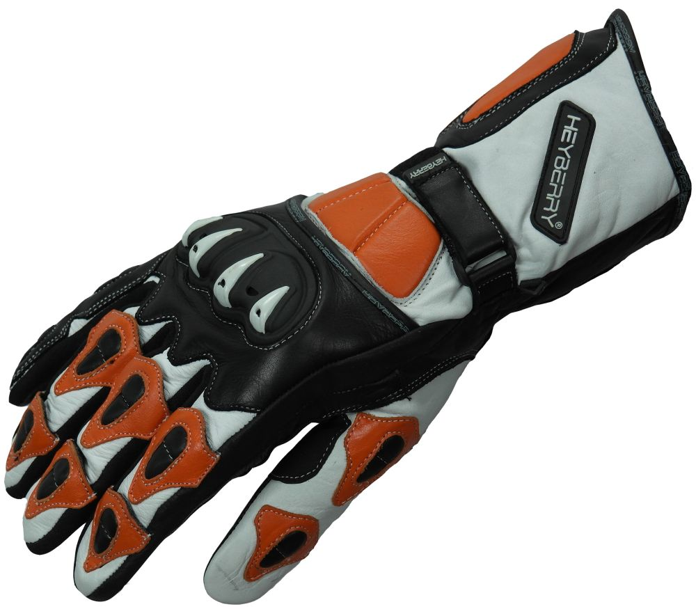 Heyberry Motorradhandschuhe Leder Motorrad Handschuhe schwarz weiß orange M-XXL