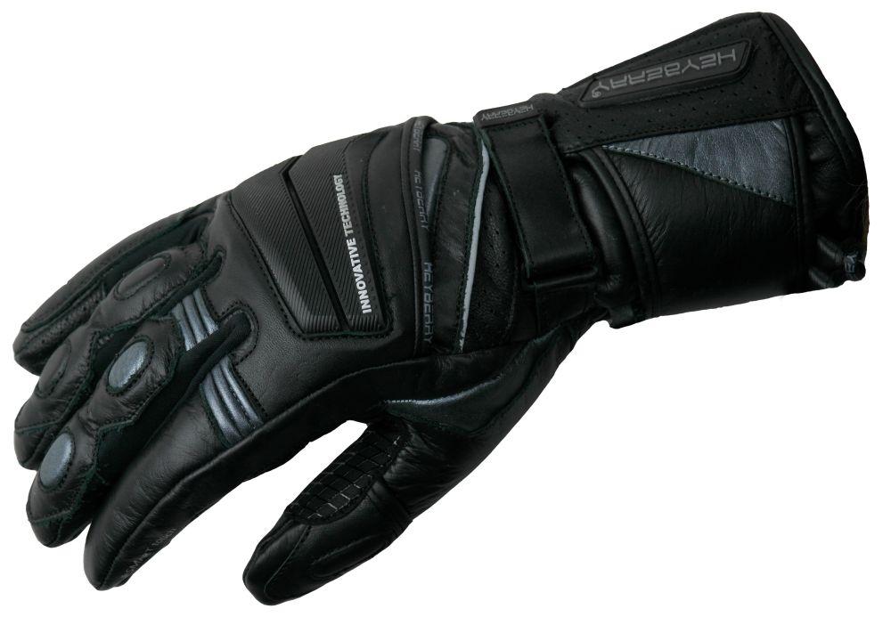 Heyberry Motorradhandschuhe Leder Motorrad Handschuhe schwarz / grau M-XL