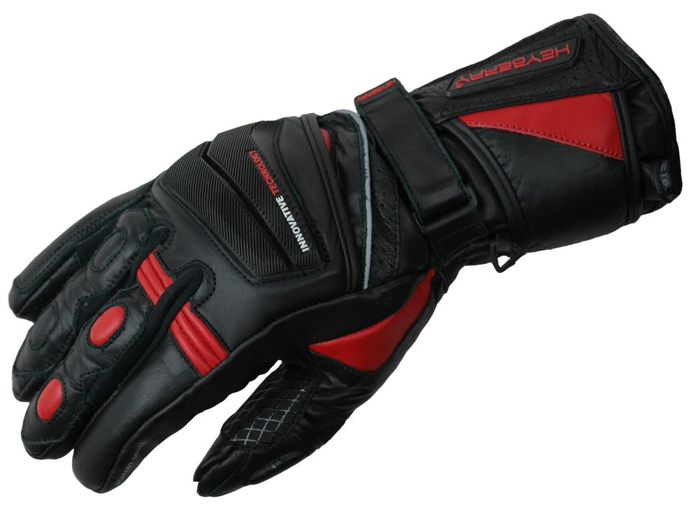 Heyberry Motorradhandschuhe Leder Motorrad Handschuhe schwarz / rot M-XL