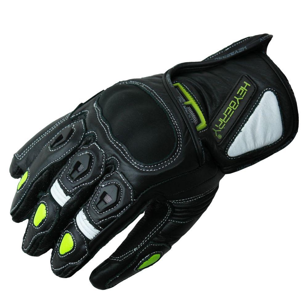 Heyberry Motorradhandschuhe kurz Leder schwarz neon Gr. M L XL
