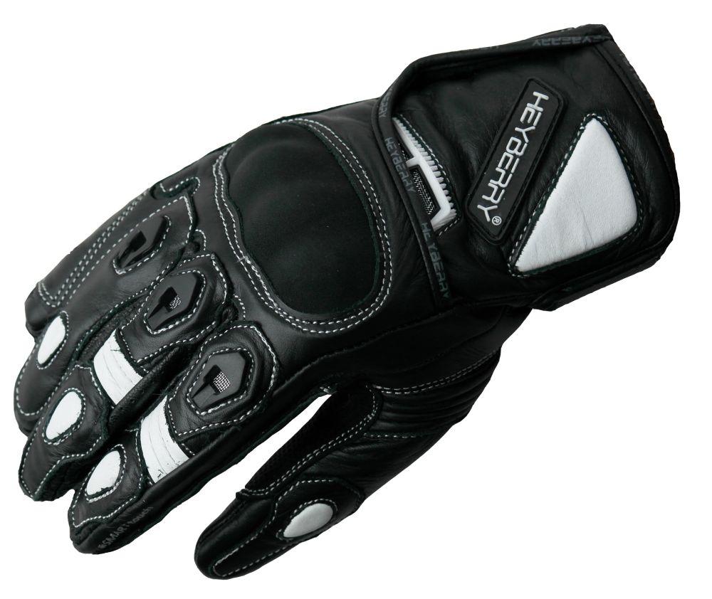 Heyberry Motorradhandschuhe kurz Leder schwarz weiß Gr. M L XL