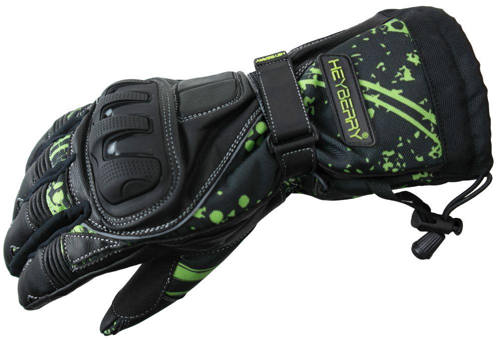 Heyberry Winter Motorradhandschuhe gefüttert schwarz grün Gr. M L XL XXL