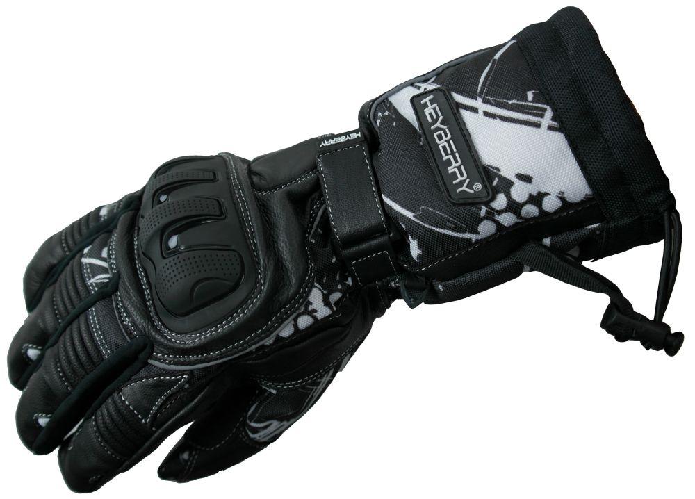 Heyberry Winter Motorradhandschuhe gefüttert schwarz weiß Gr. M L XL XXL
