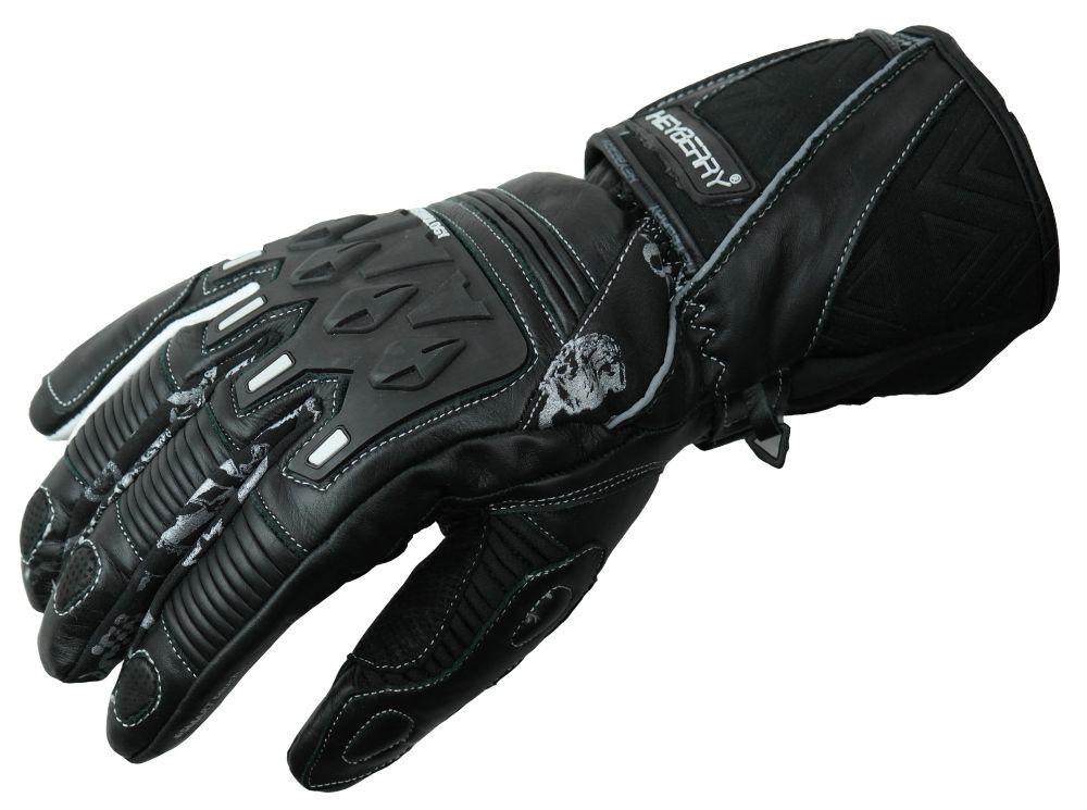 Heyberry Motorradhandschuhe gefüttert schwarz weiß Gr. M L XL
