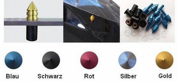 Verkleidungsscheiben Spitz  Alu  Farbe: Blau