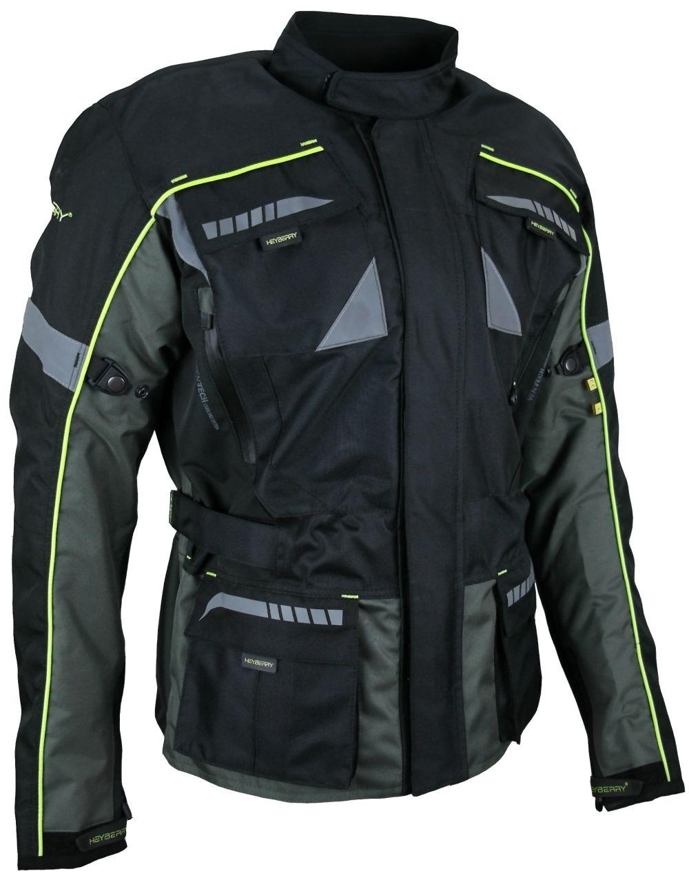 Heyberry Enduro Motorradjacke Textil schwarz grau neon Gr. M - 3XL