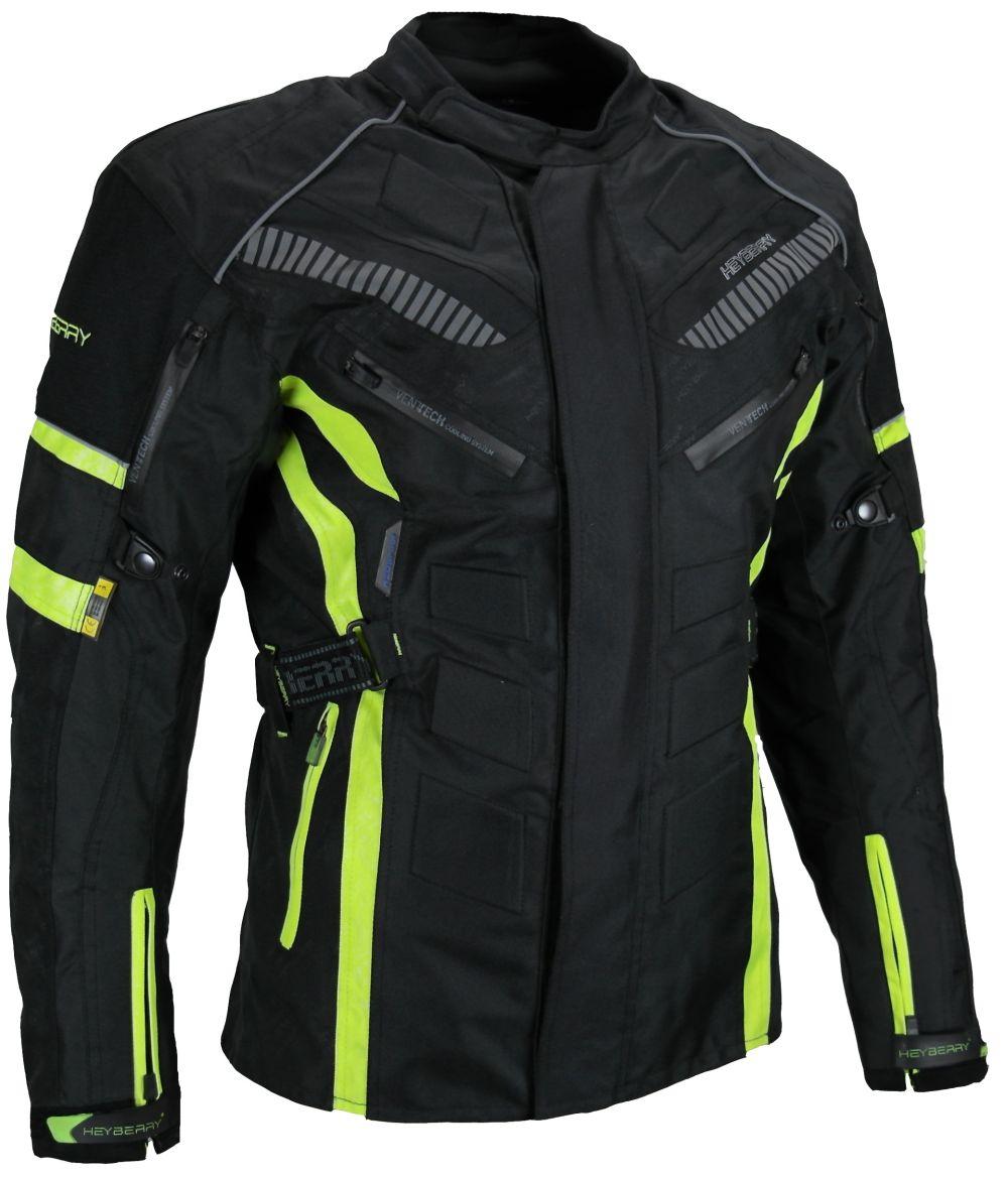 Herren Touren Motorradjacke Textil Heyberry fluorgrün Gr. M L XL XXL 3XL