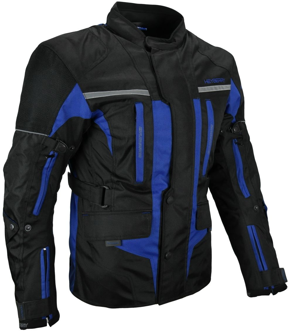 Touren Motorrad Jacke Motorradjacke Textil Heyberry schwarz blau M - 3XL