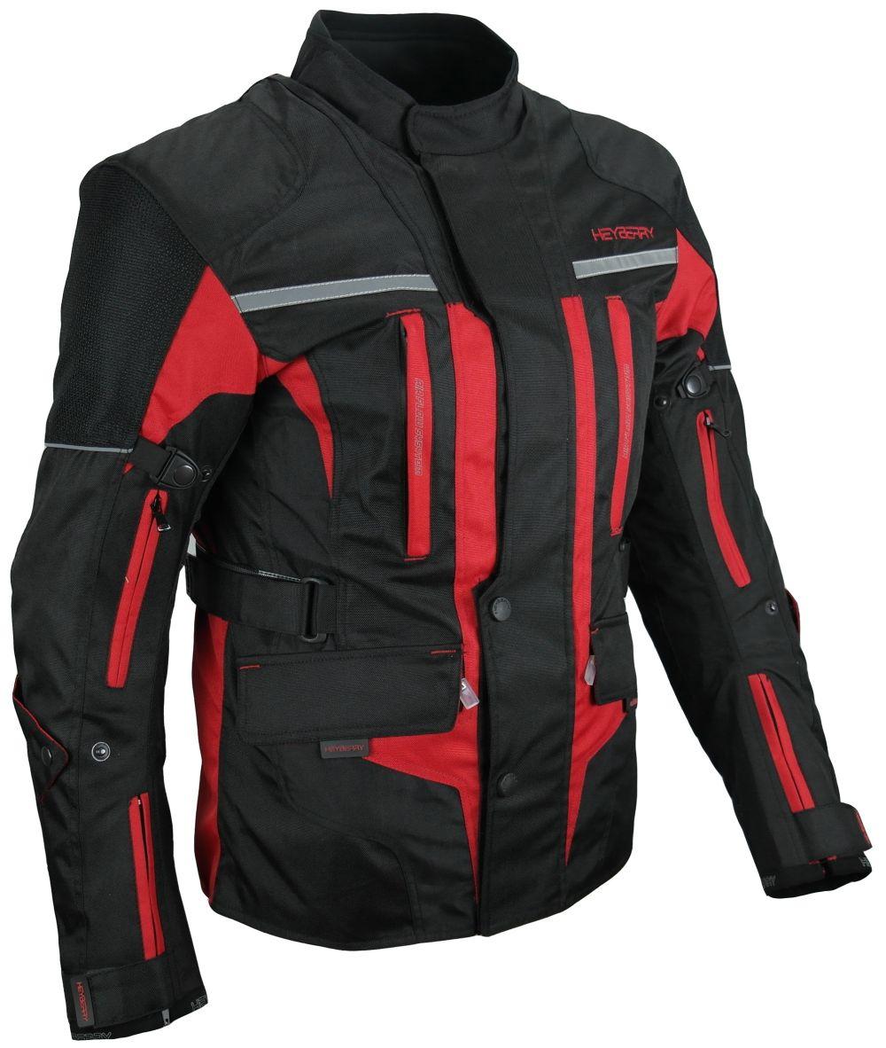 Touren Motorrad Jacke Motorradjacke Textil Heyberry schwarz rot Gr. M -  3XL