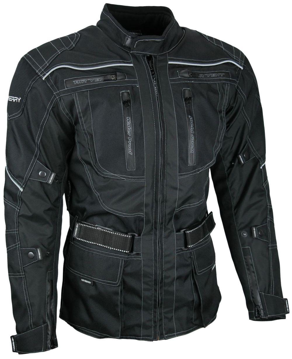 Heyberry Touren Motorrad Jacke Motorradjacke Textil schwarz Gr. M - 3XL