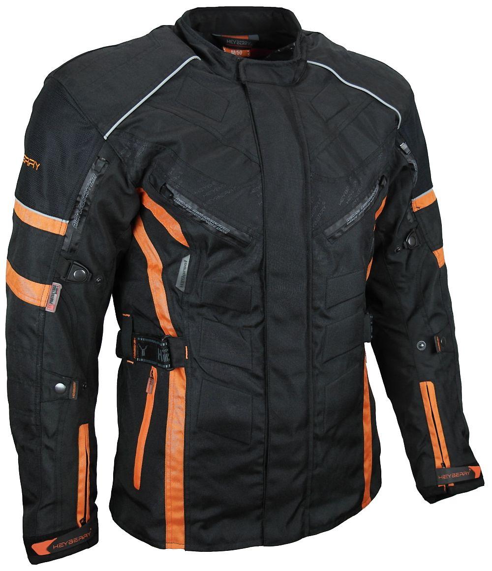 Herren Touren Motorradjacke Textil Heyberry schwarz orange Gr. M - 3XL