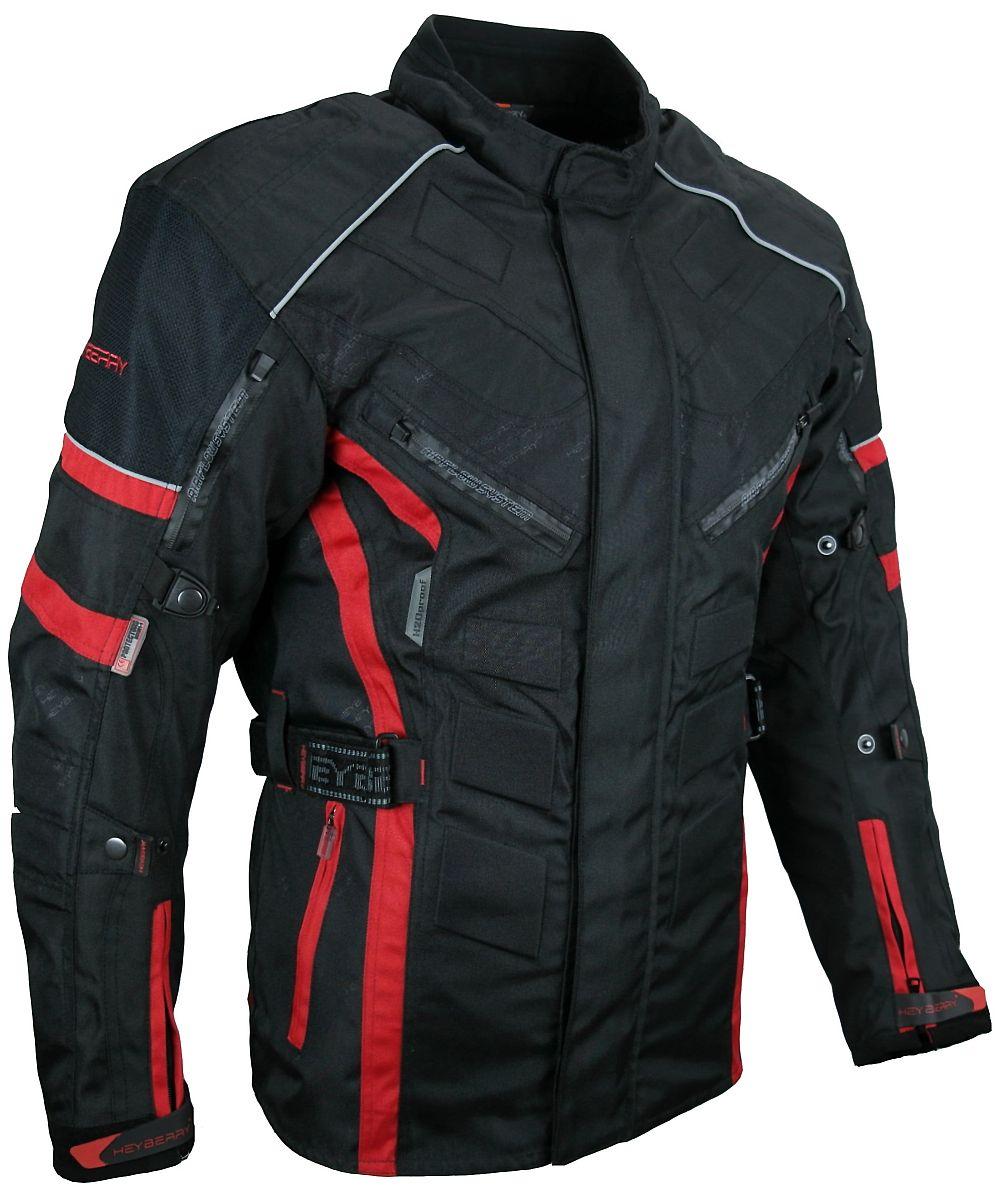 Herren Touren Motorradjacke Textil Heyberry schwarz rot Gr. M - 3XL