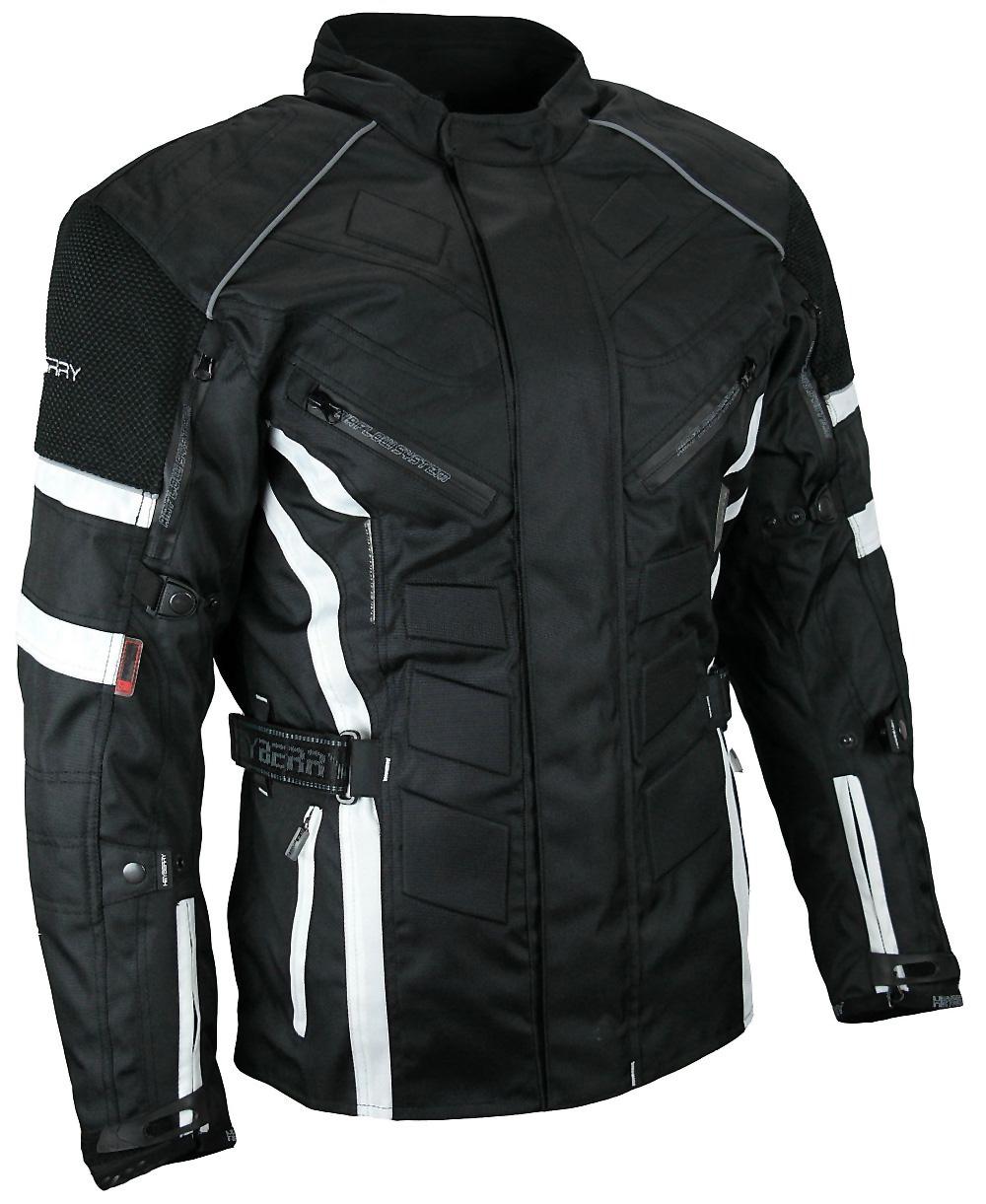 Herren Touren Motorradjacke Textil Heyberry schwarz weiß Gr. M - 3XL
