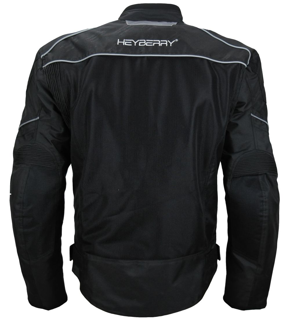 Heyberry Airmesh Sommer Motorradjacke Schwarz Gr. M L XL XXL 3XL