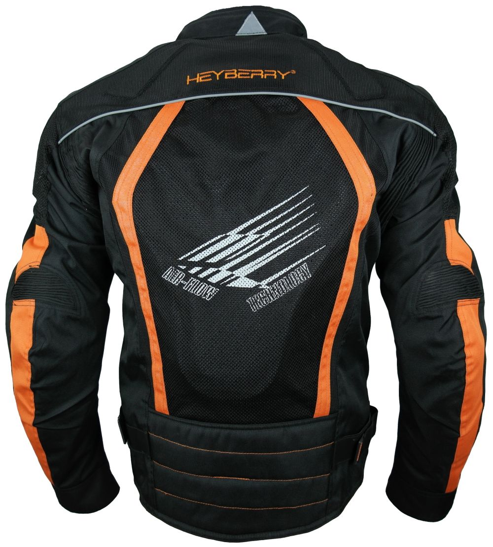 Sommer Motorradjacke Airmesh Motorrad Jacke Schwarz Orange Gr. M - XXL