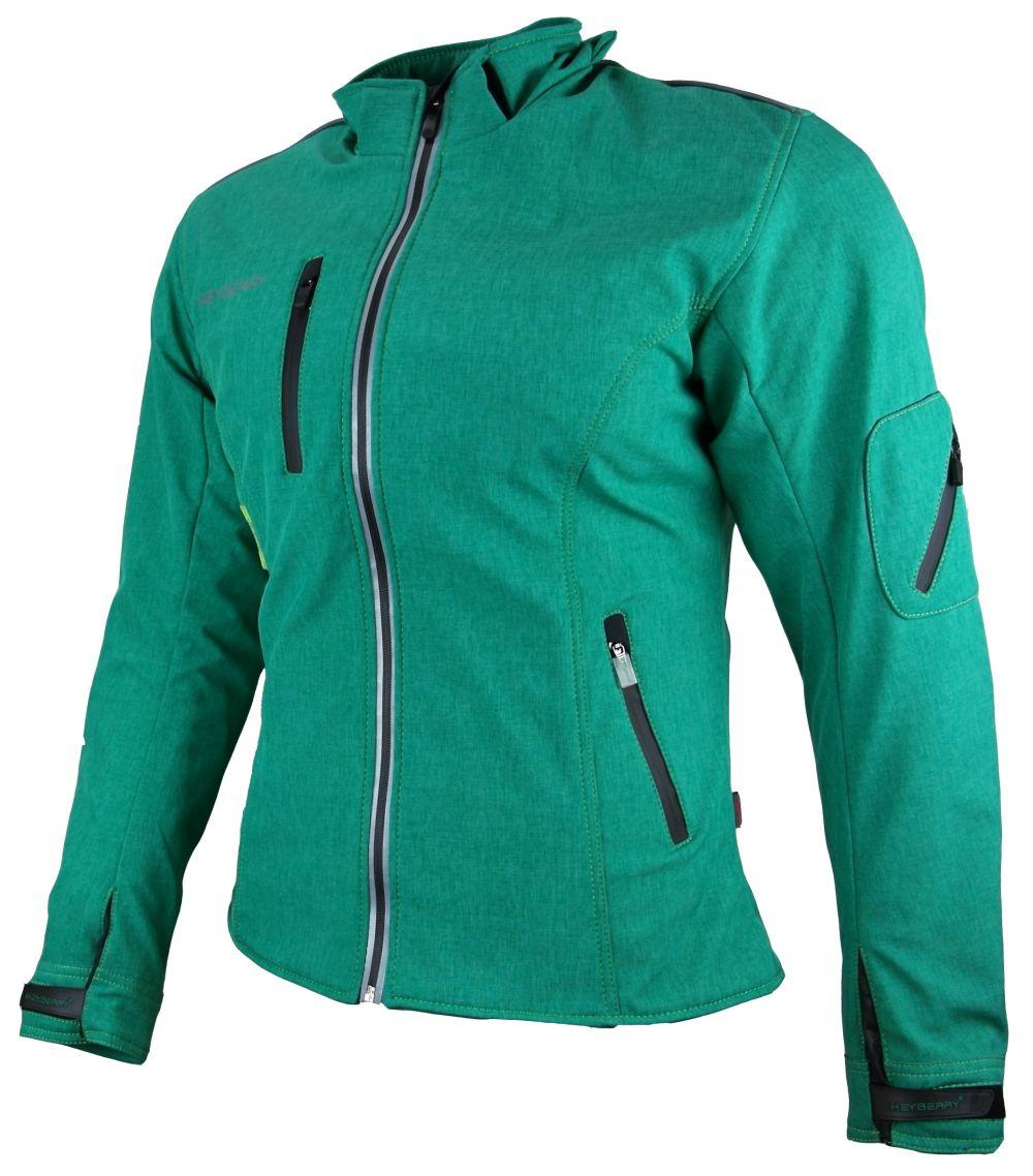 Heyberry Damen Soft Shell Jacke Motorradjacke Textil grün meliert S - XXL