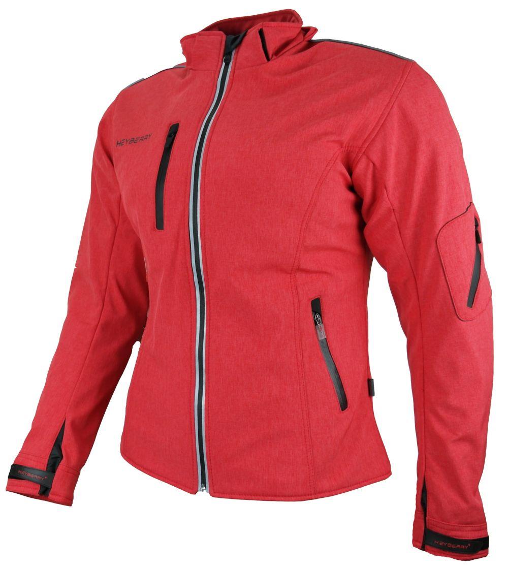 Heyberry Damen Soft Shell Jacke Motorradjacke Textil rot meliert  S - XXL