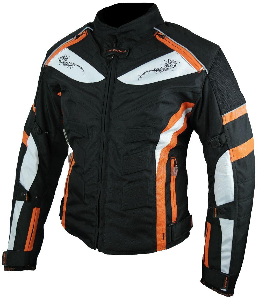 Heyberry Damen Motorrad Jacke Motorradjacke Textil Schwarz Orange Gr. S - XXL