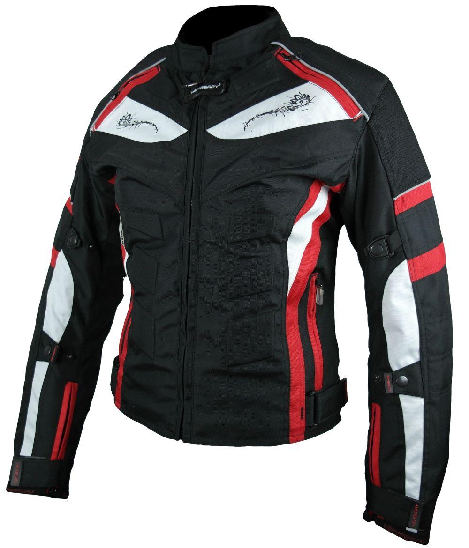 Heyberry Damen Motorrad Jacke Motorradjacke Textil Schwarz Rot Gr. S - XXL