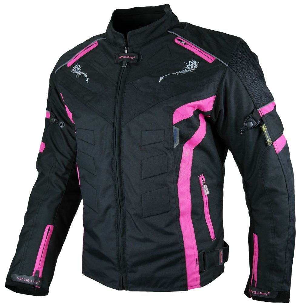 Heyberry Damen Motorrad Jacke Motorradjacke Textil Schwarz Pink Gr. S M L XL XXL