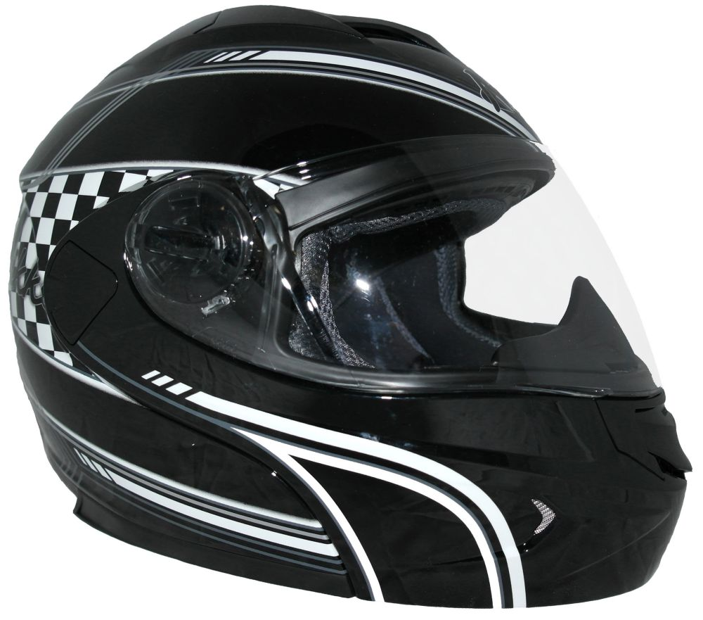 klapphelm motorrad klapp helm schwarz wei mit. Black Bedroom Furniture Sets. Home Design Ideas