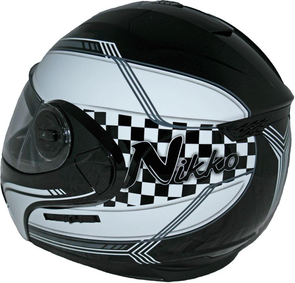 Klapphelm Motorrad Klapp Helm weiß schwarz mit integrierter Sonnenblende S - XL