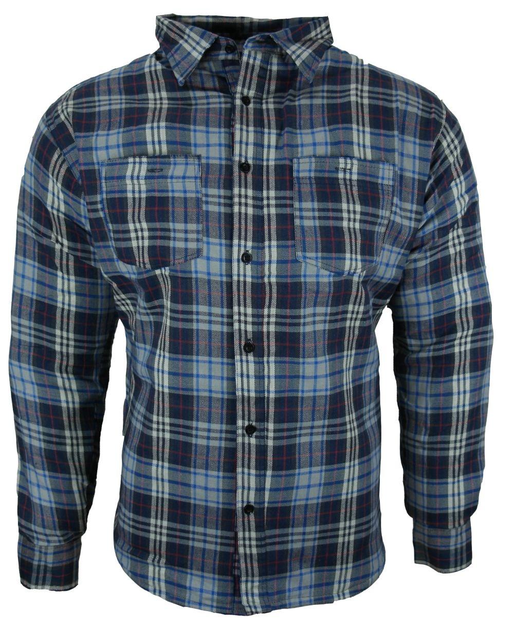 Heyberry Motorrad Biker Holzfäller Hemd Shirt Aramid blau grau M - 3XL