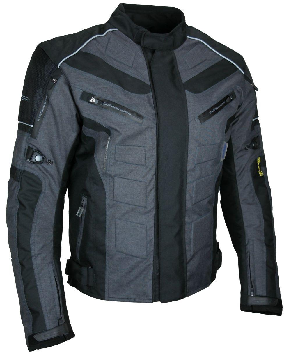 Kurze Textil Motorrad Jacke Motorradjacke Schwarz Grau Gr. M - 3XL