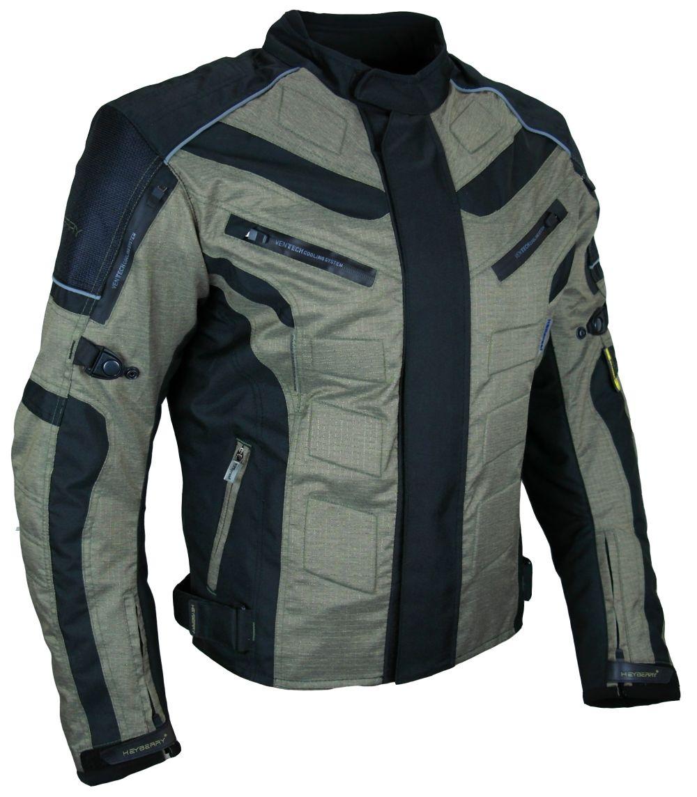 Kurze Textil Motorrad Jacke Motorradjacke Schwarz Olivgrün Gr. M - 3XL