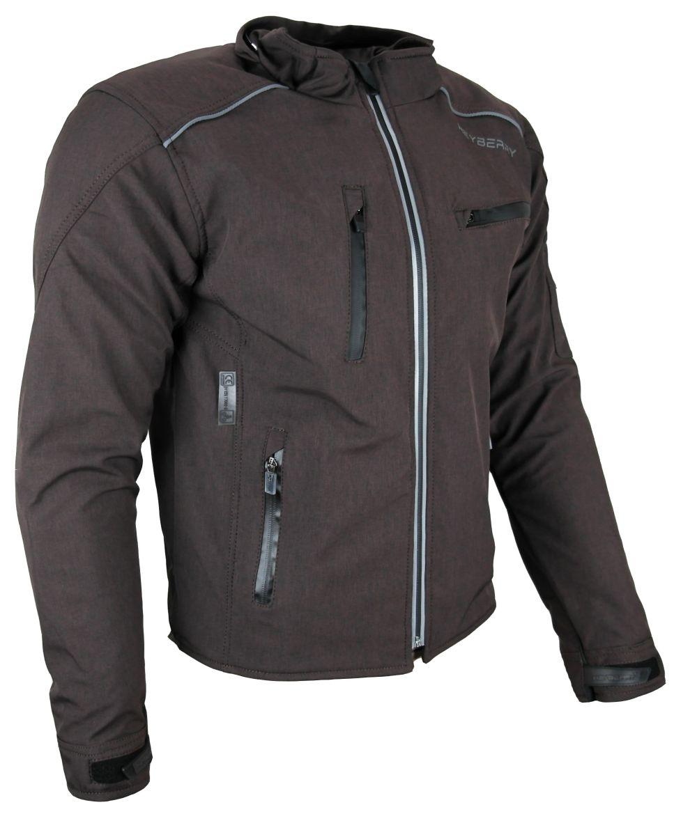 Heyberry Soft Shell Motorradjacke Textil mit Kapuze abnehmbar braun Gr. M - 3XL