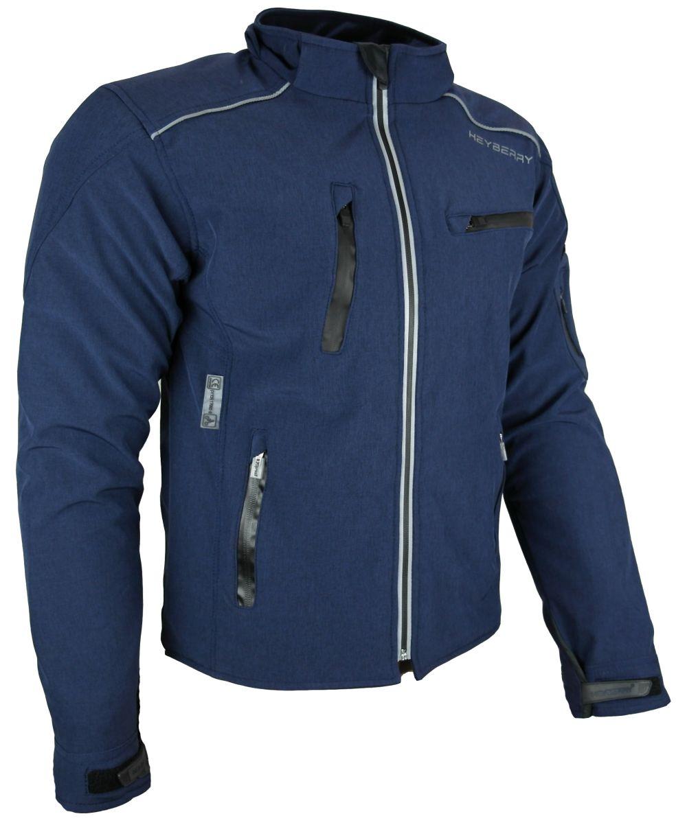 Heyberry Soft Shell Motorradjacke Textil mit Kapuze abnehmbar blau Gr. M - 3XL