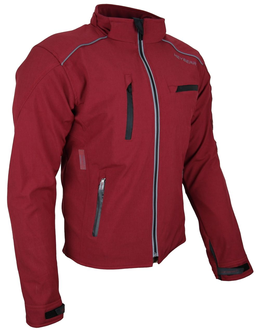 Heyberry Soft Shell Motorradjacke Textil mit Kapuze abnehmbar weinrot Gr. M-3XL
